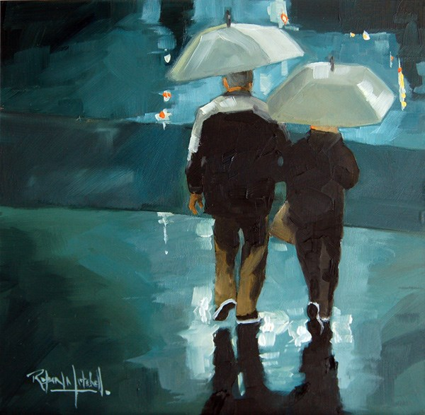 """No604 Home together in the Rain"" original fine art by Robin J Mitchell"