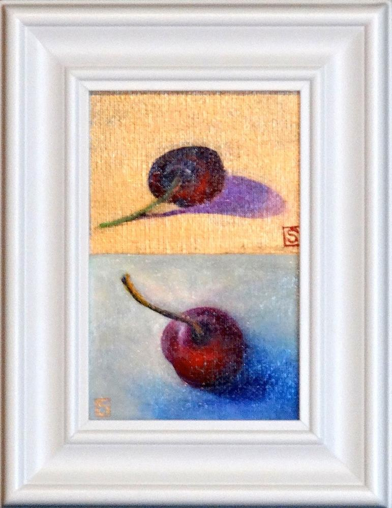 """2063-I - Framed - Cherry Cherry I - White Frame"" original fine art by Sea Dean"