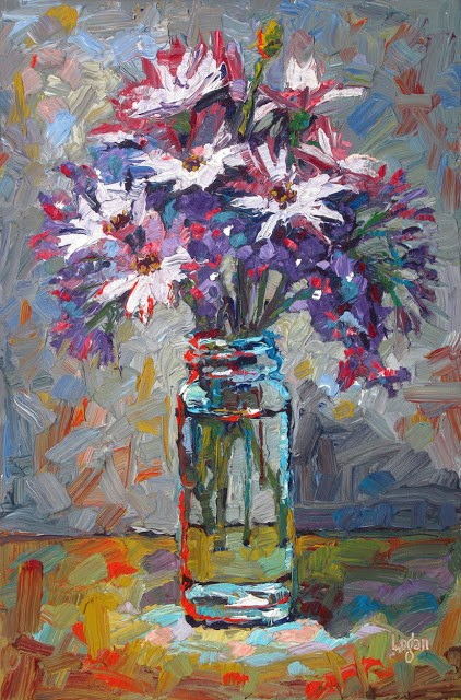 """African Daisies and Statice"" original fine art by Raymond Logan"