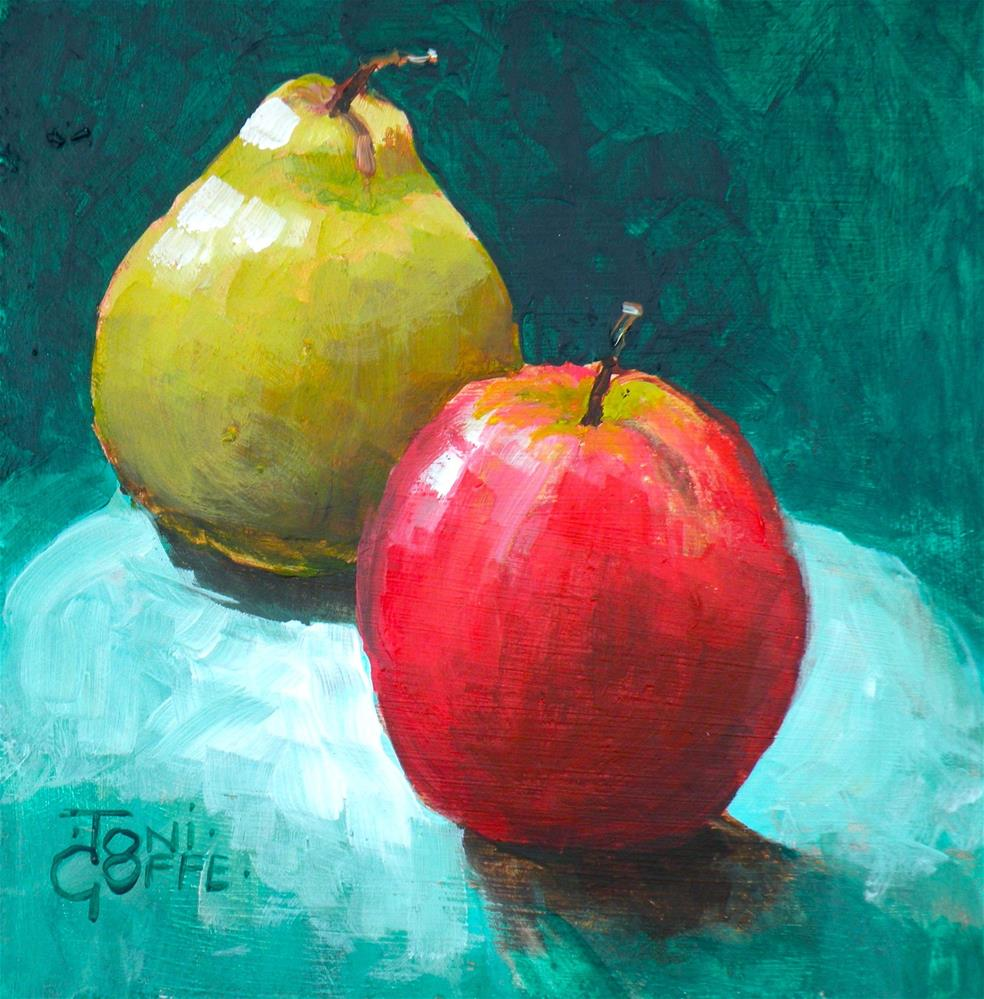 """""""Apple and Pear"""" original fine art by Toni Goffe"""
