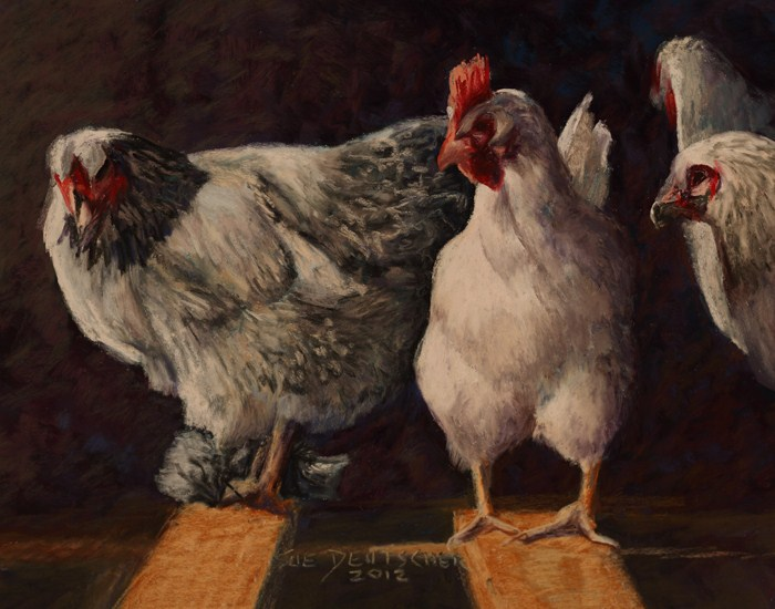"""Chickens"" original fine art by Sue Deutscher"