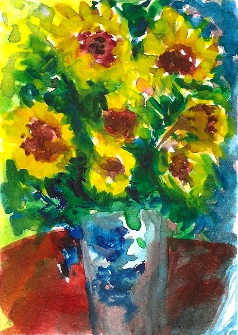 """ACEO NFAC Sunflowers Vase Monet Style Impressionist Painting Penny StewArt"" original fine art by Penny Lee StewArt"