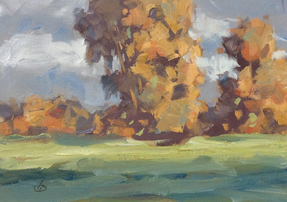 """AUTUMN TREES"" original fine art by Tom Brown"
