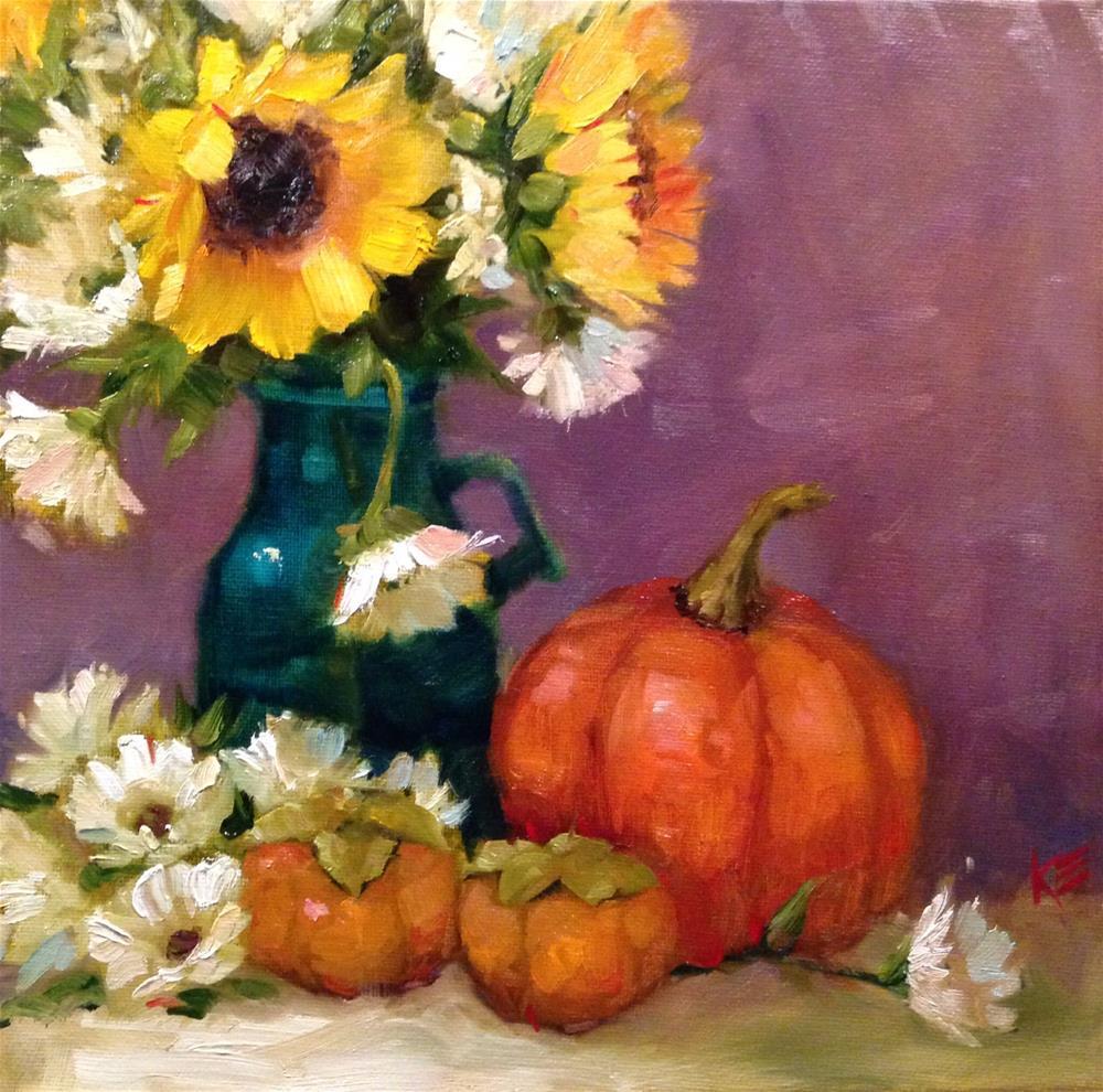 """Pumpkin & Daisies & Persimmons"" original fine art by Krista Eaton"