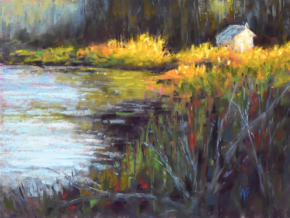 """Summer by the pond"" original fine art by Alejandra Gos"