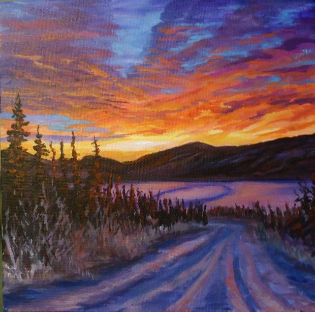 """Faro Mine Road, Yukon"" original fine art by Jackie Irvine"