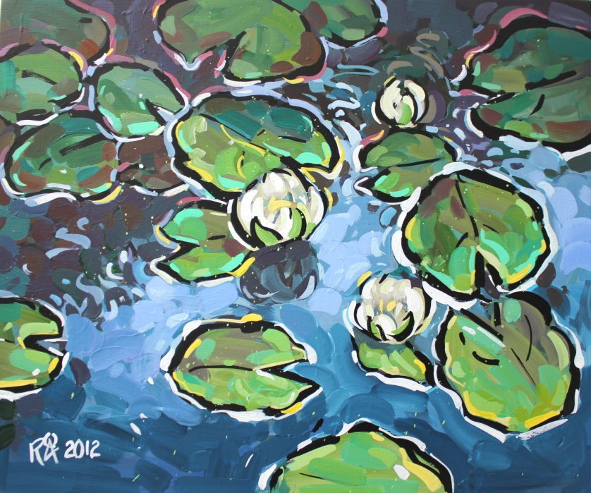 Waterlily abstraction 1 original fine art by Roger Akesson