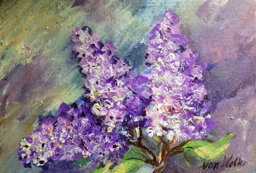"""Lilacs blossoms painting"" original fine art by Sonia von Walter"
