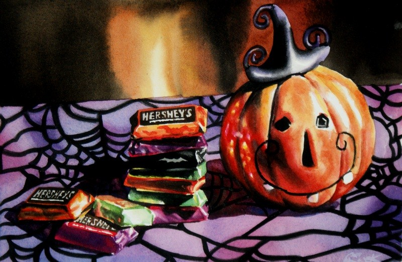 """""""Tricks and Treats"""" original fine art by Crystal  Cook"""