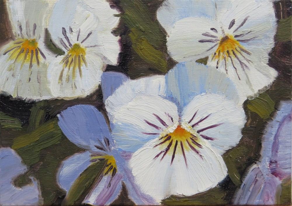 """White Pansies"" original fine art by Richard Kiehn"