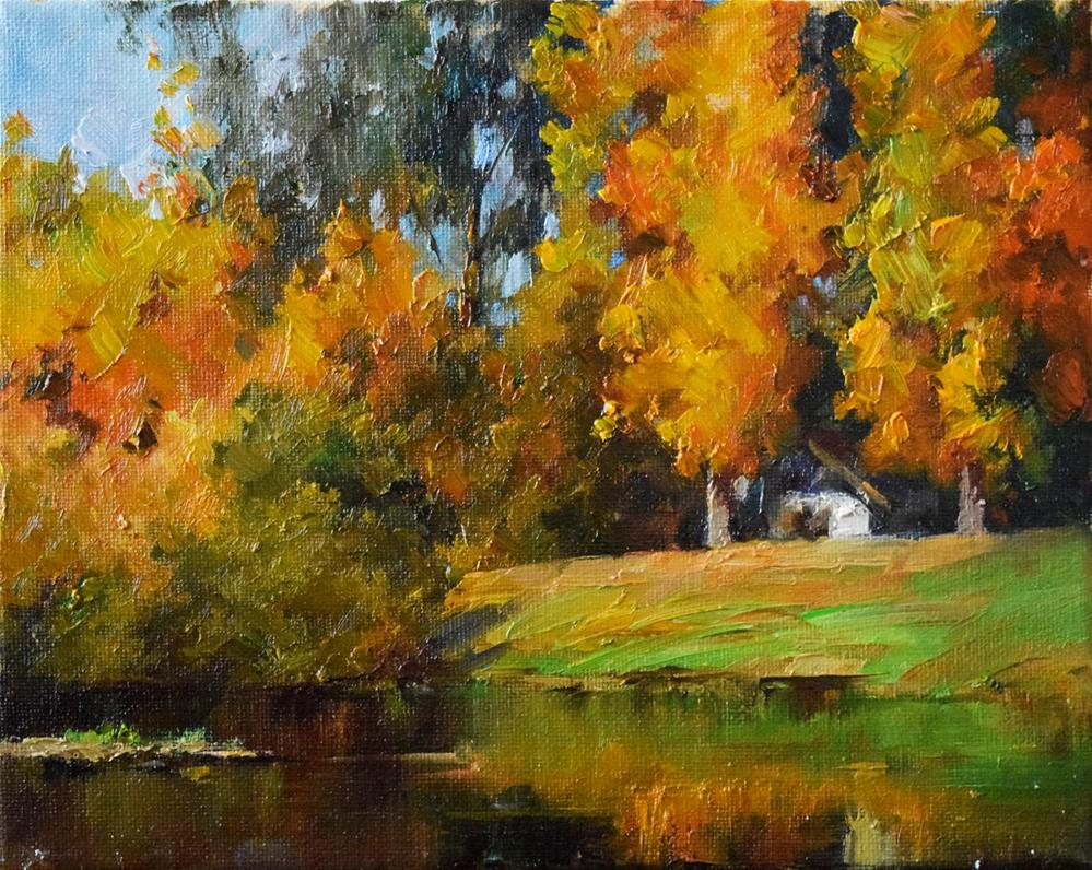 """Fall in Vasona Lake"" original fine art by Kelvin Lei"