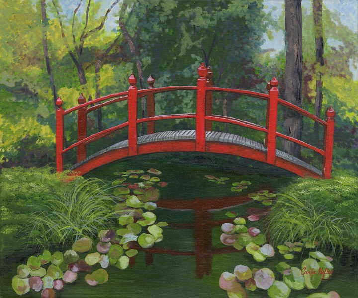 """Red Bridge"" original fine art by Carla Hefley"
