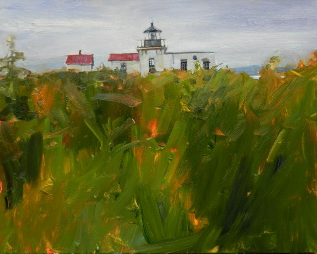 """Point no Point Light House from the Wetland Trail plein air , landscape painting by Robin Weiss"" original fine art by Robin Weiss"