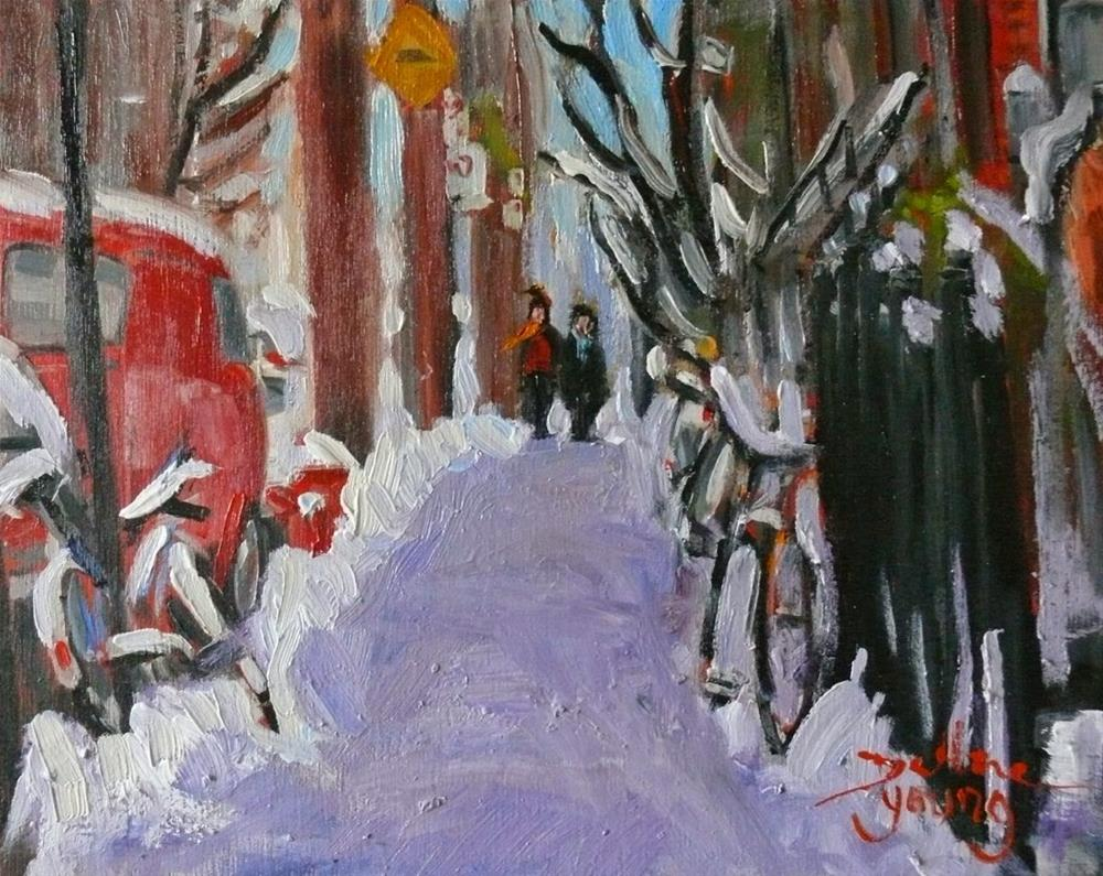 """812 Montreal Winter, Jeanne-Mance Street, 8x10, oil"" original fine art by Darlene Young"