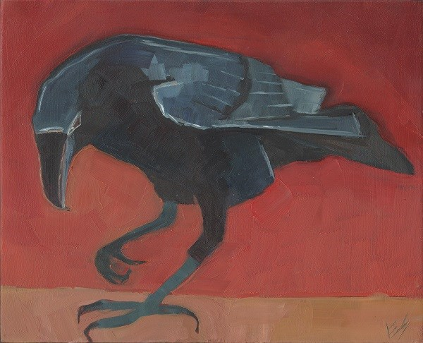 """Raven On Red"" original fine art by Elizabeth See"