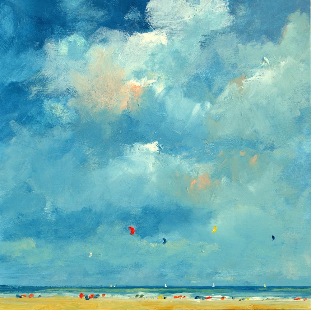 """Sunny and cloudy day on the beach"" original fine art by Wim Van De Wege"