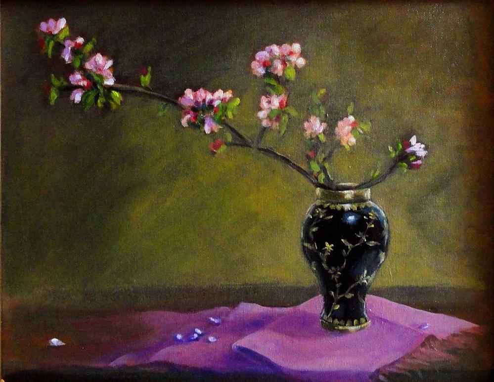 """Apple Blossoms In A Chinese Vase"" original fine art by Cietha Wilson"