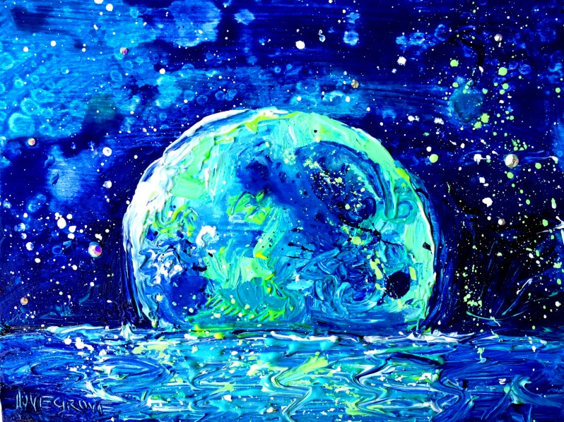 """Blue Moon Over Matlacha Island"" original fine art by Leoma Lovegrove"