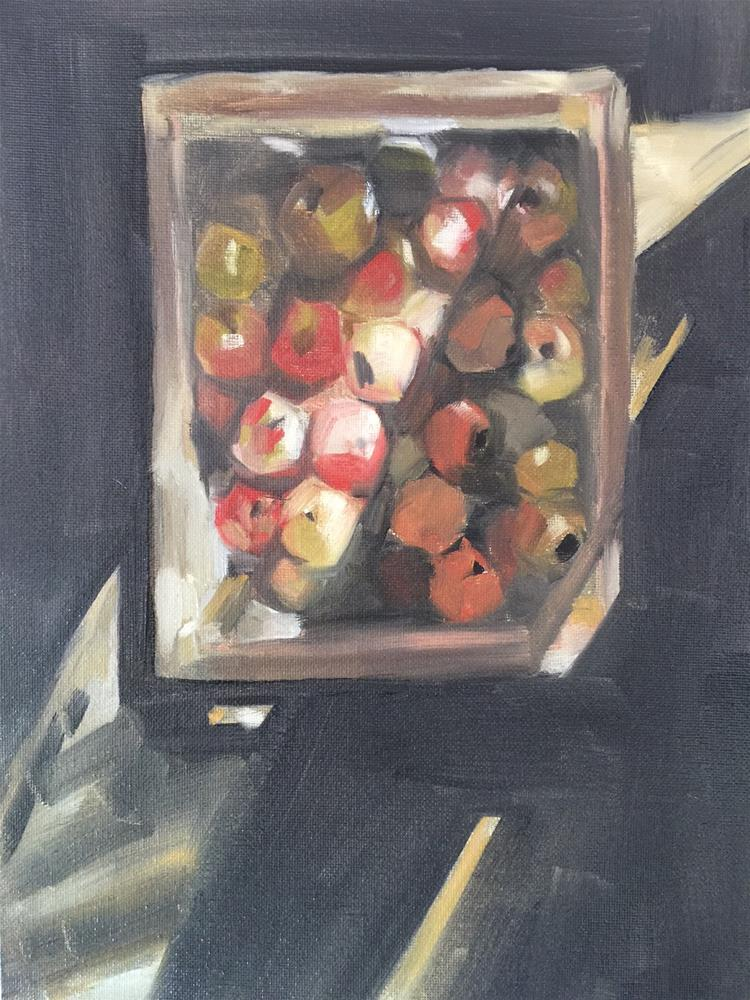 """339 Crate of Apples"" original fine art by Jenny Doh"