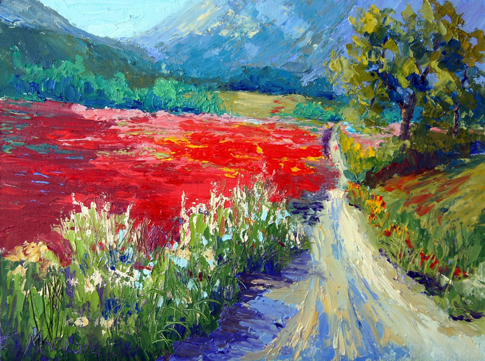 """Red Field"" original fine art by Marion Hedger"