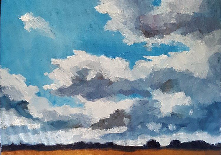 """Sky Over The Fens"" original fine art by J M Needham"