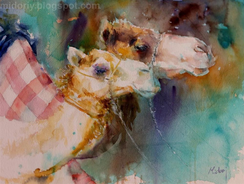 """""""Al Marmoom Camel Racetrack 5/7"""" original fine art by Midori Yoshino"""