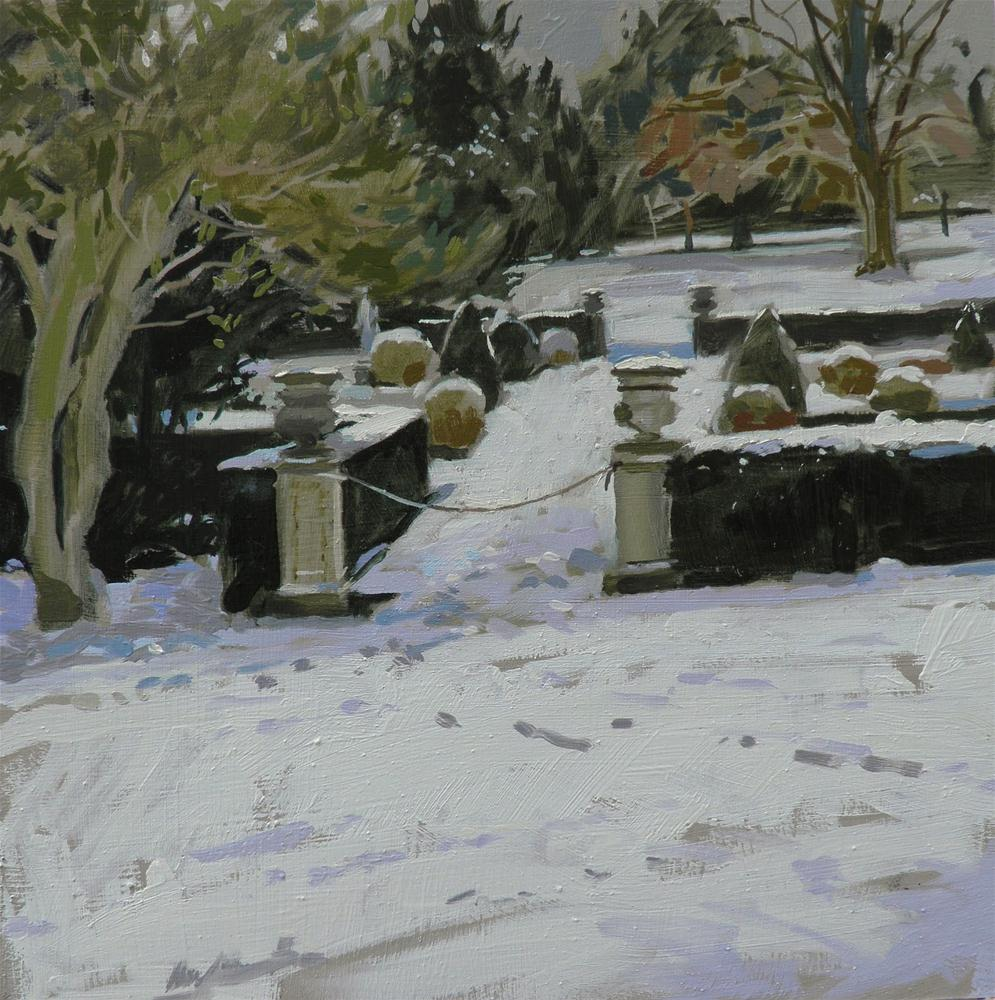"""""""Belton House gardens in the snow"""" original fine art by Haidee-Jo Summers ROI"""