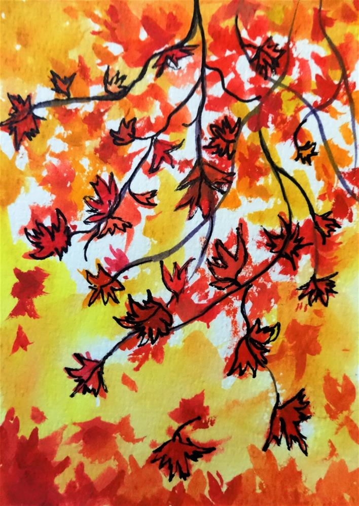 """5118 - Maple Cascade"" original fine art by Sea Dean"