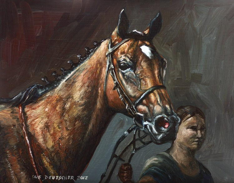 """""""Thoroughbred Race Horse"""" original fine art by Sue Deutscher"""