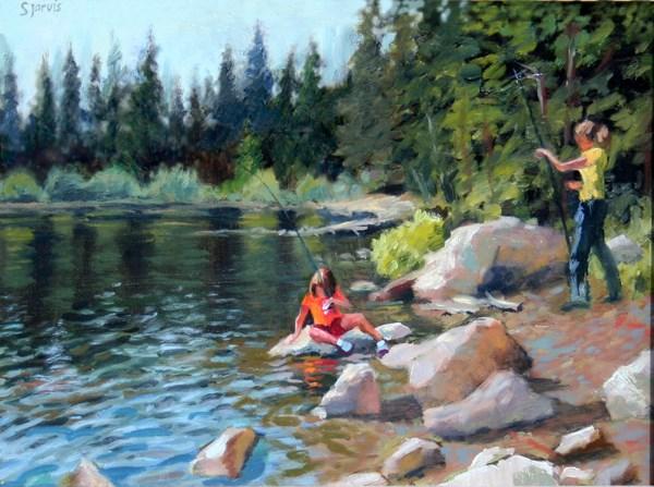 """Fishing at Silver Lake"" original fine art by Susan N Jarvis"