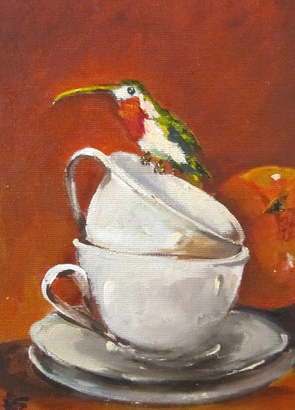 """Hummingbird and Tea Cup"" original fine art by Delilah Smith"