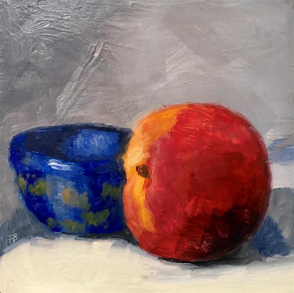 """036 Peach and Blue Bowel"" original fine art by Fred Bell"