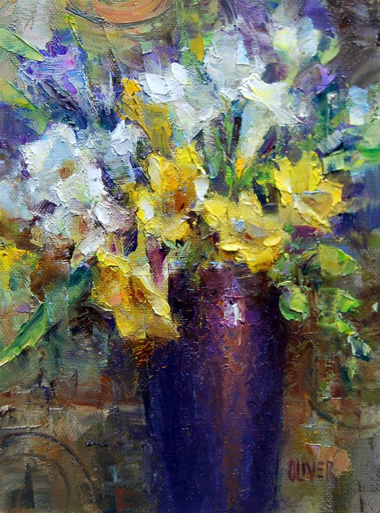 """Freesias in Plum Vase"" original fine art by Julie Ford Oliver"