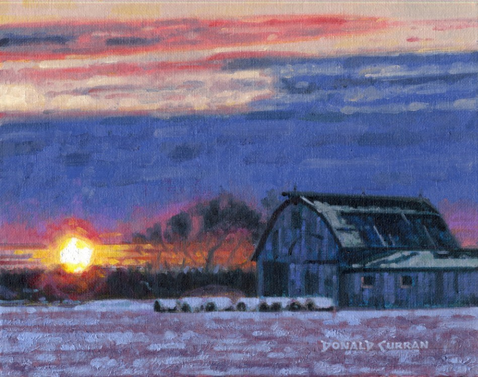 """Rural Sunset"" original fine art by Donald Curran"