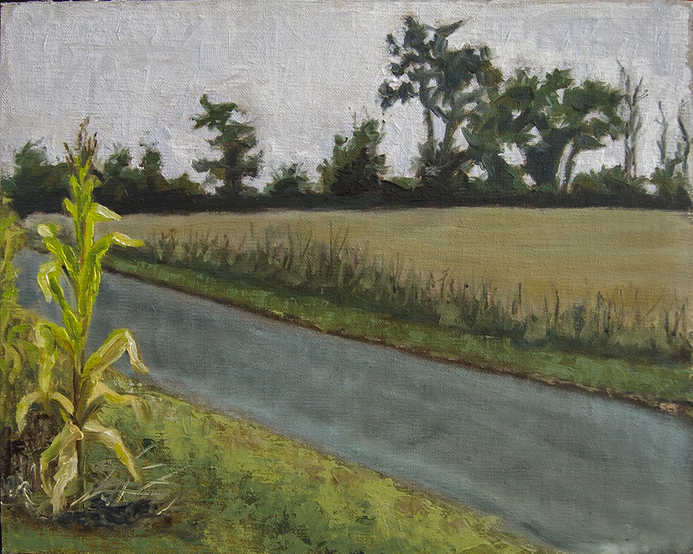 """Plein Air – Road and Corn in Indiana"" original fine art by Rachel Steely"