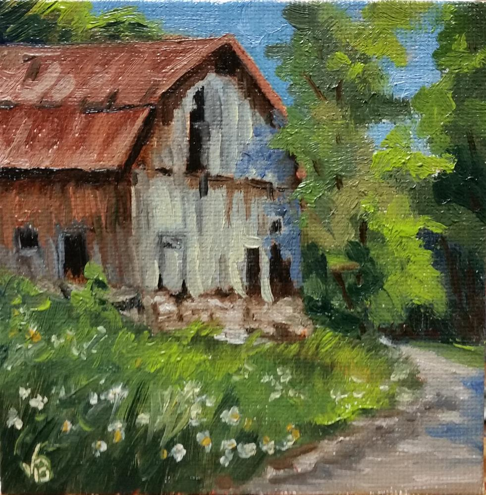"""Barn near Devil's Well-mini painting"" original fine art by Veronica Brown"