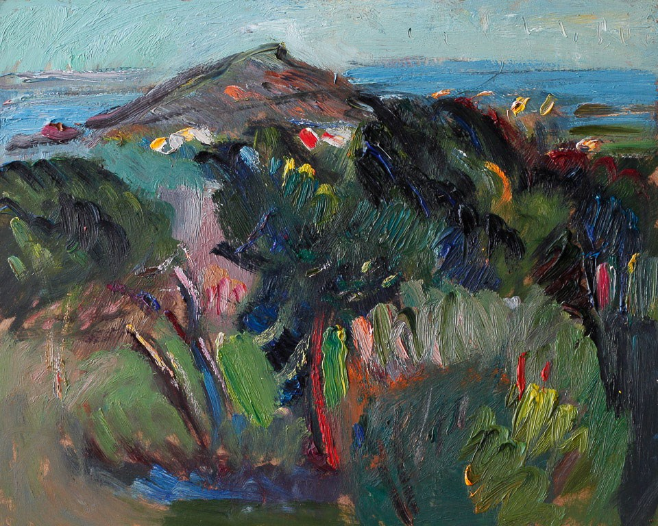 """Summer Spanish Landscape with Pine Trees, the Sea and the Island"" original fine art by Anna  Fine Art"