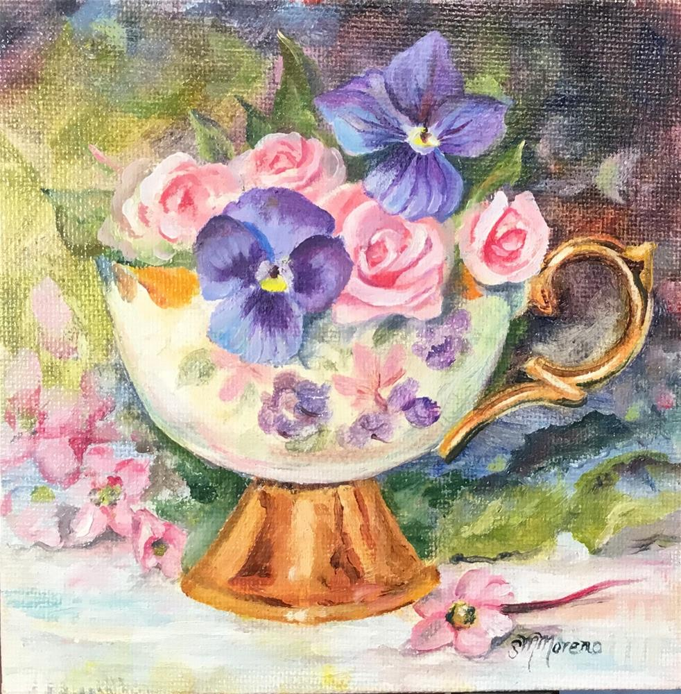 """A Cup of Flower"" original fine art by Susan McConnell Moreno"