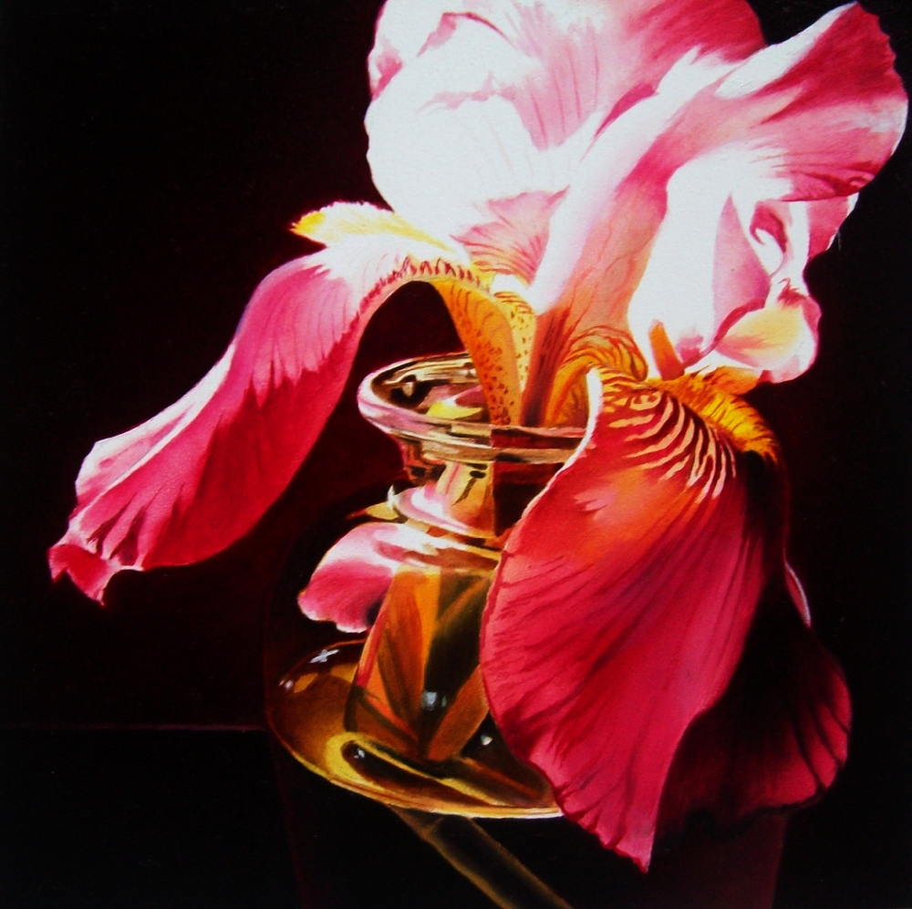 """Pink Iris in Glass"" original fine art by Jacqueline Gnott, whs"