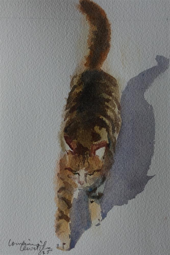 """""""Focussed Cat"""" original fine art by Lorraine Lewitzka"""