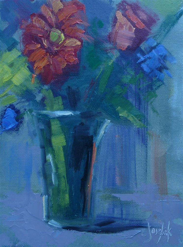 """Flowers with palette knife"" original fine art by Carol Josefiak"