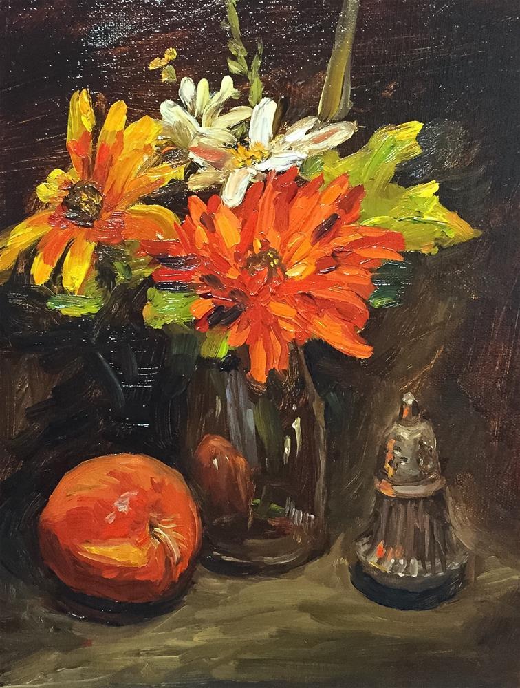 """Still life with apple & shaker"" original fine art by Dana Lombardo"