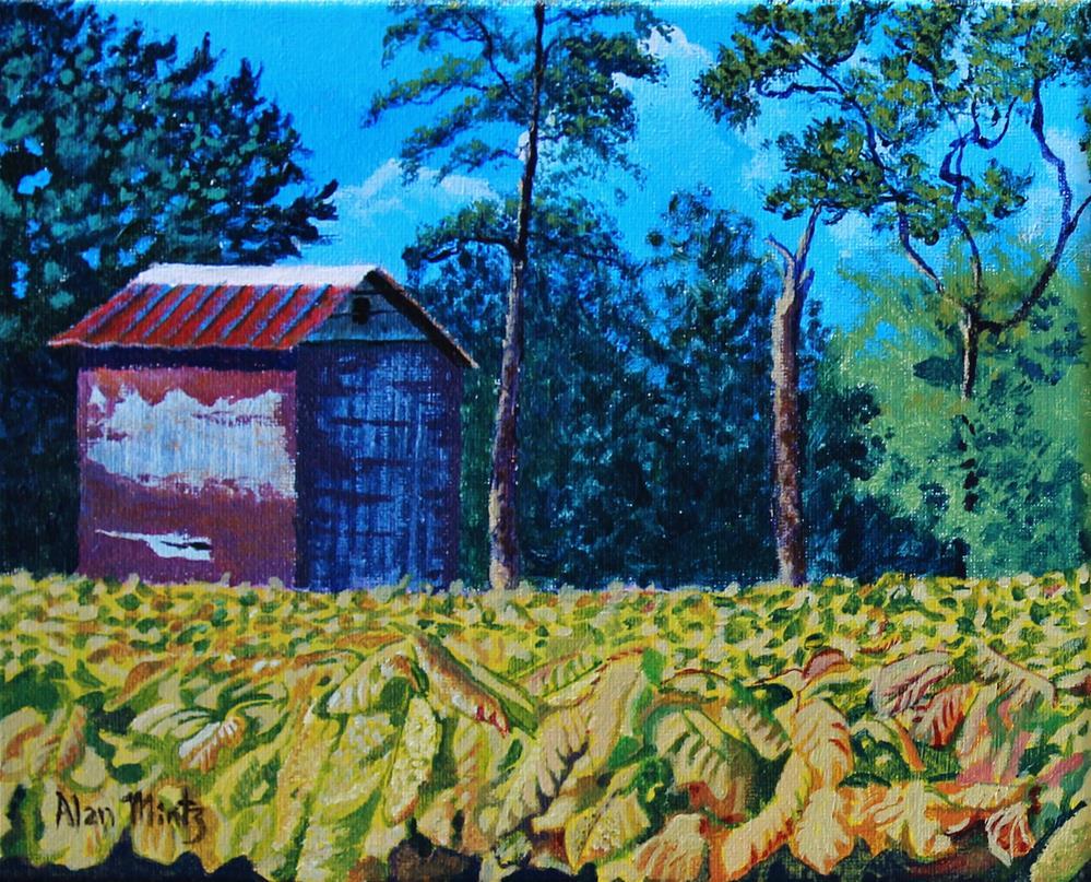 """Tobacco Barn"" original fine art by Alan Mintz"