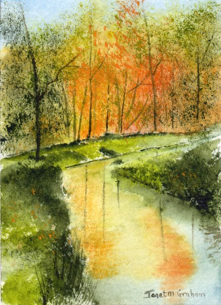 """Fall Stream ACEO"" original fine art by Janet Graham"