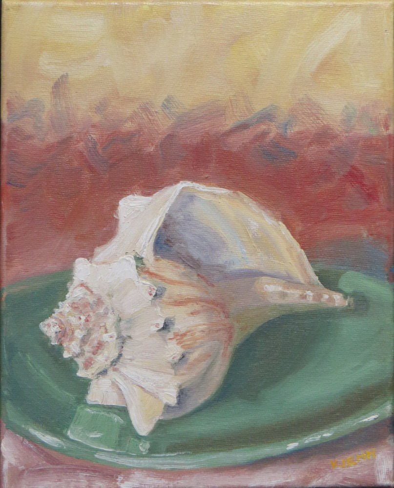 """Shell on Green Plate"" original fine art by Richard Kiehn"