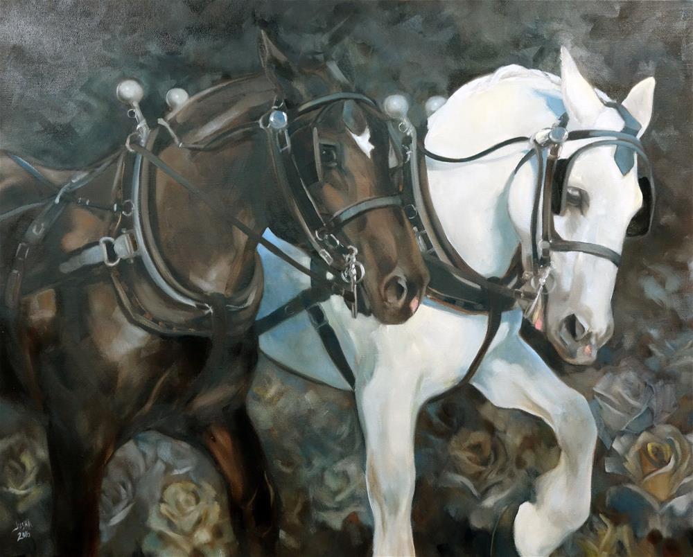 """Boston Pair"" original fine art by Elaine Juska Joseph"