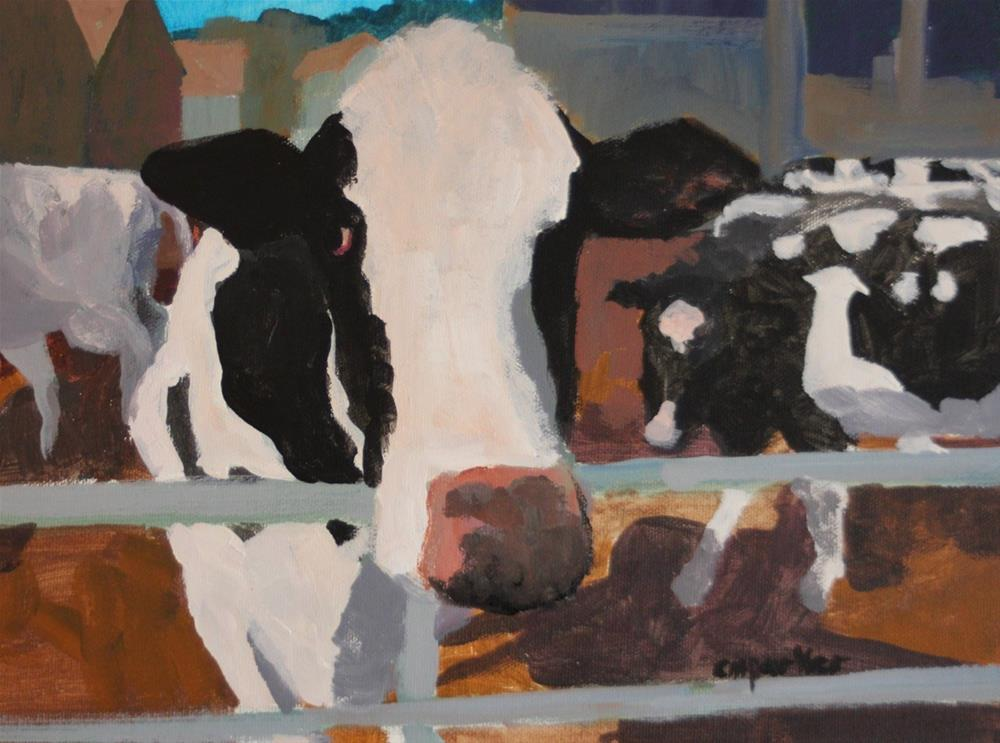 """Cows"" original fine art by Christine Parker"