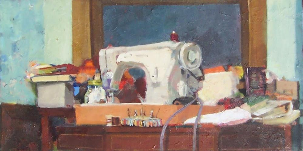 """Sewing Nook,still life,oil on canvas14x20,priceNFS"" original fine art by Joy Olney"