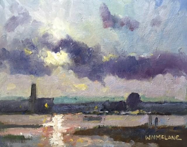 """Factory Moon"" original fine art by William  McLane"
