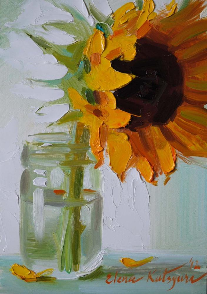 """Sunflower in a Jar"" original fine art by Elena Katsyura"